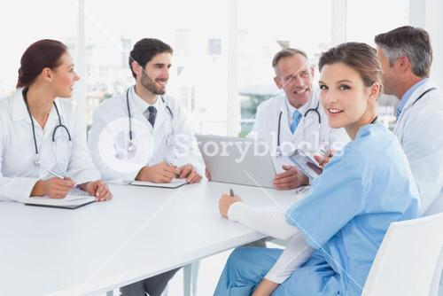 Doctors sitting together and talking