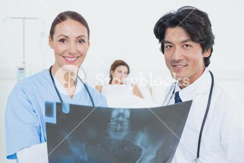 Nurse and doctor with x-ray