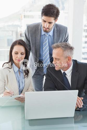 Business people working well together