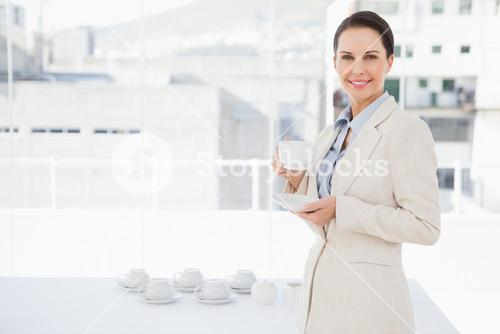 Businesswoman enjoying her cup of coffee
