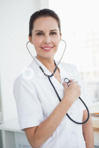Doctor checking her own heartbeat