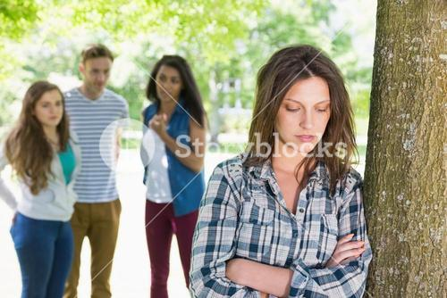 Lonely student being bullied by her peers