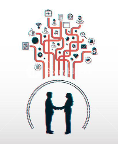 Business people shaking hands with app icons in 3d