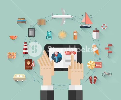 Online holiday booking vector with tablet