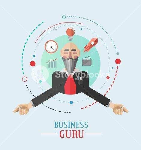 Business guru vector with icons