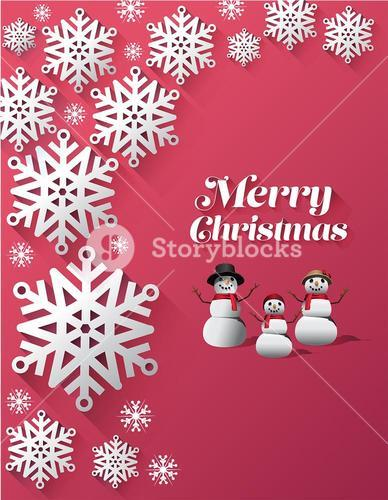 Merry christmas vector with snowflakes