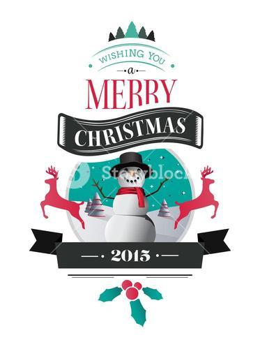 Merry christmas vector with text and icons