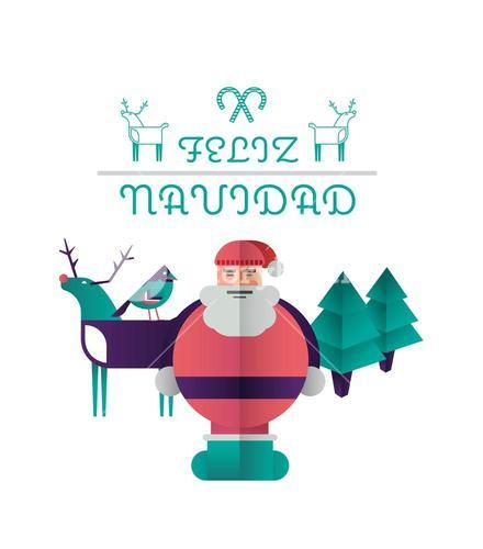 Feliz navidad message with illustrations