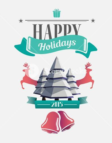 Happy holidays message with illustrations
