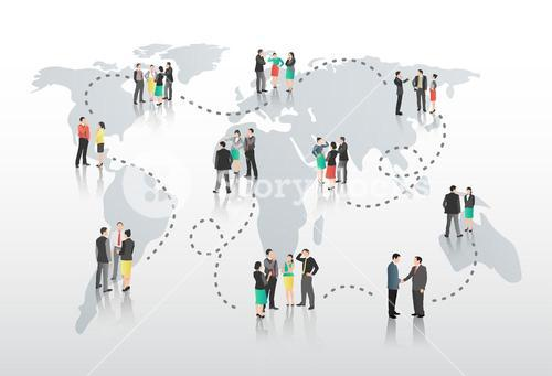 Business people with connecting lines and world map