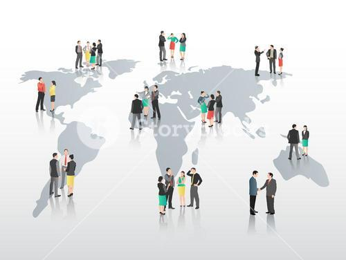 Business people on world map