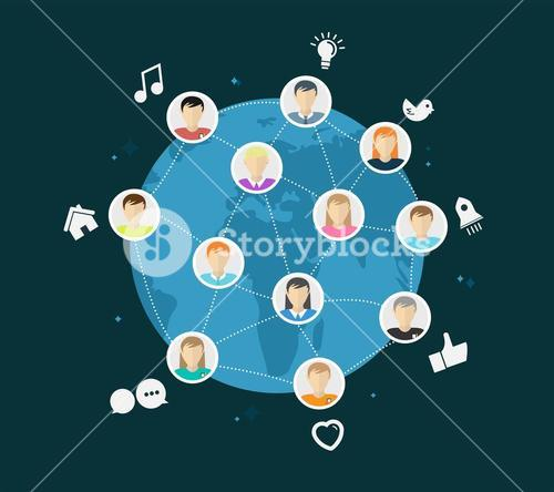 Online global community vector with app icons