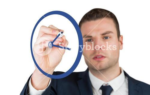 Composite image of business person drawing