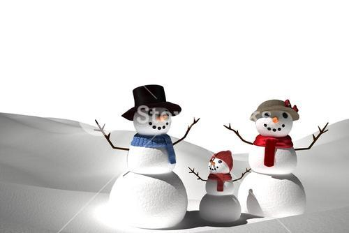 Digitally generated white snow family