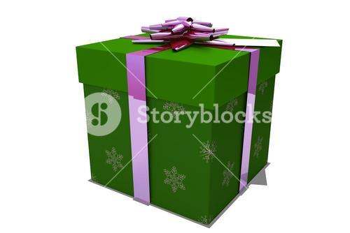 Green and pink christmas gift
