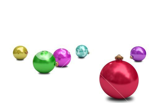 Digitally generated colourful christmas baubles