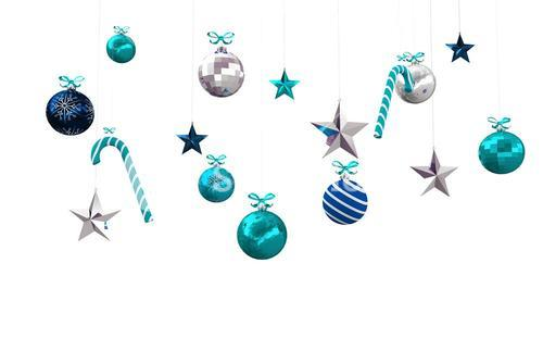 Digitally generated hanging christmas decorations