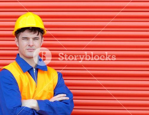 Young worker wearing a hardhat