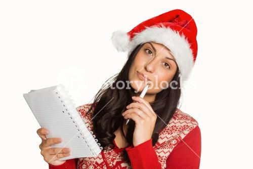 Woman thinking what to write