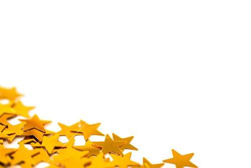 Golden star decorations spread out