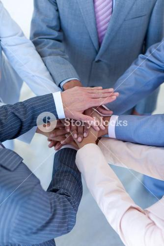 Close up of internationalpeople with hands together