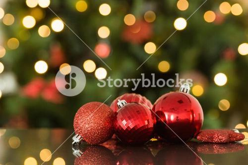 Focus on red christmas baubles