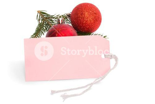 Pink tag with christmas decorations