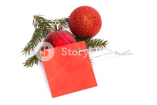 Red tag with christmas decorations