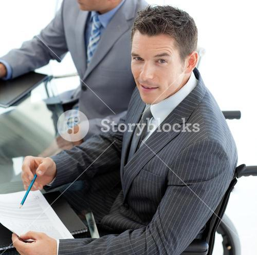 Close up of a businessman in a wheelchair