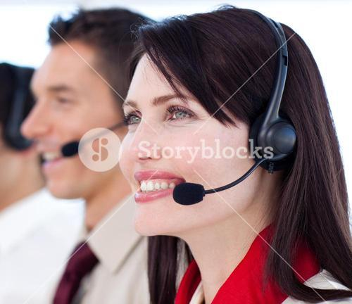 Young customer service agents a call center