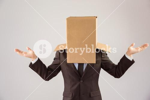 Anonymous businessman with hands out