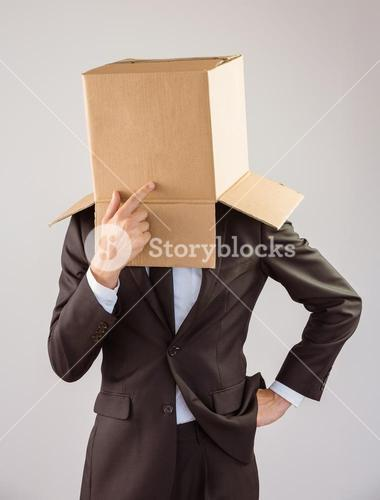 Anonymous businessman touching his chin
