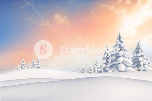 Snowy landscape with fir trees
