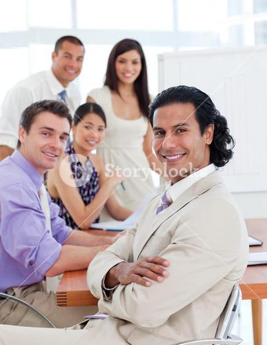 Selfassured businessman in a meeting