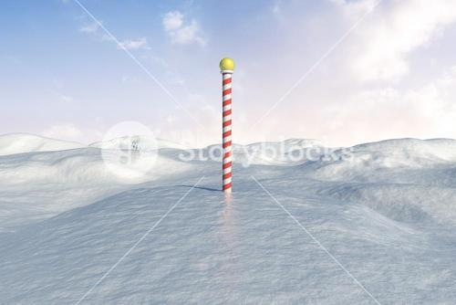 Snowy landscape with pole