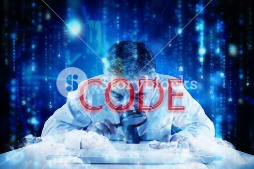 Code against lines of blue blurred letters falling
