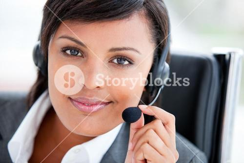 Portrait of a radiant customer service agent at work