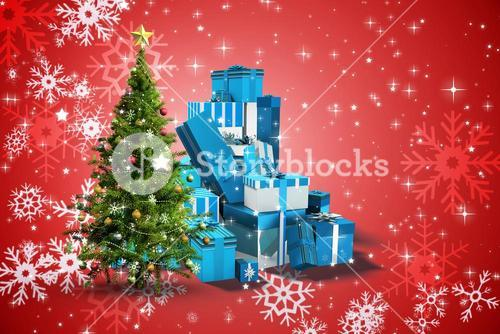 Composite image of christmas tree and presents
