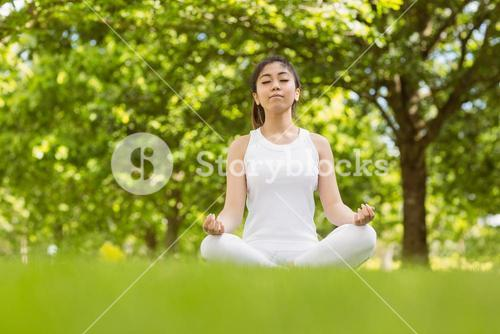 Healthy young woman sitting in lotus pose at park
