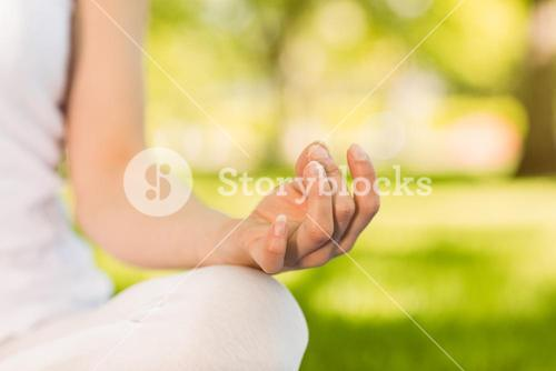 Peaceful woman doing yoga in the park