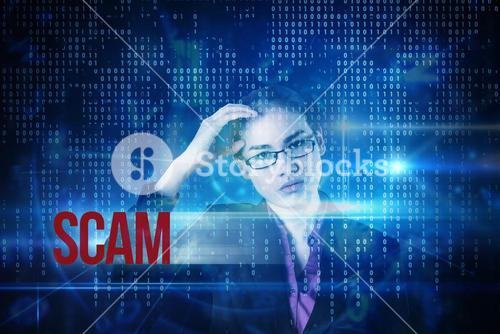 Scam against blue technology interface with binary code