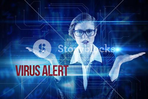 Virus alert against blue technology interface with circuit board