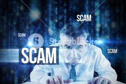 Scam against lines of blue blurred letters falling