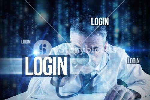 Login against lines of blue blurred letters falling