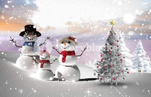 Composite image of christmas tree and snowmen