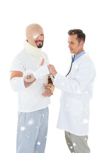 Composite image of doctor auscultating patient tied up in bandage with stethoscope