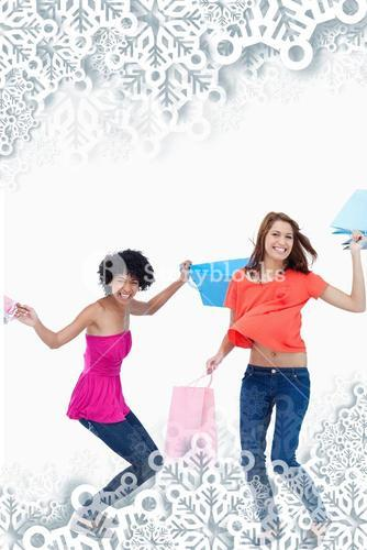 Composite image of teenager flexing her legs while her friend is standing up