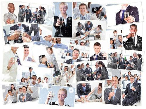 Composite image of collage of businessmen toasting and drinking champagne