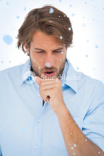 Composite image of tanned man having a coughing fit