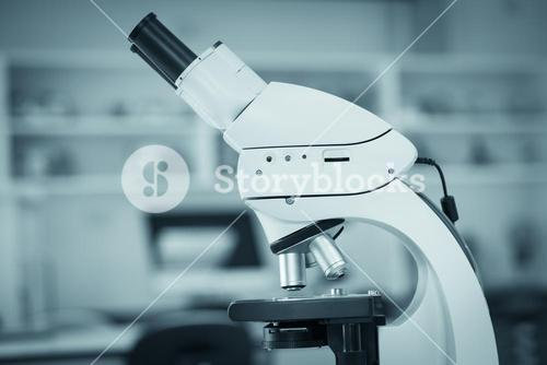 Close up on microscope in laboratory